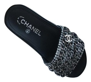 Chanel Slides Black and silver Mules