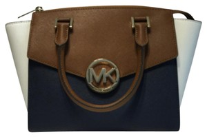 MICHAEL Michael Kors Satchel in Navy/Luggage/White