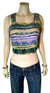 Angie New Size Medium Cropped Top green, purple, yellow
