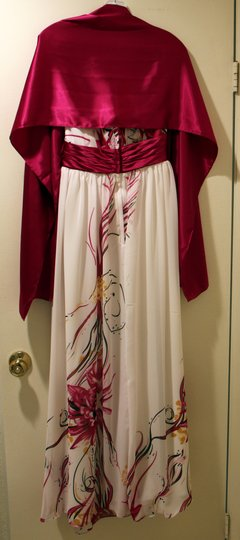 Liz Fields White Magenta Chiffon 352 Feminine Bridesmaid/Mob Dress Size 6 (S)