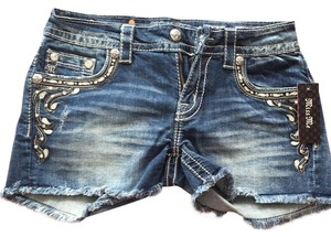 Miss Me Cut Off Shorts Blue