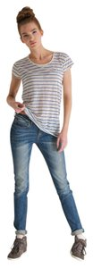 Super Dry Nautical Striped Burnout Rare Sold Out T Shirt Wedgewood Blue