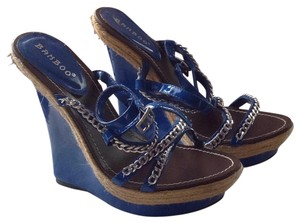 Bamboo Blue & silver hardware Wedges