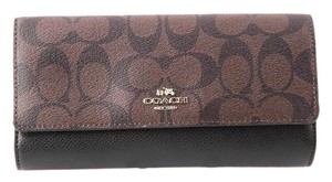 Coach * Coach Signature PVC Trifold Wallet Brown Black