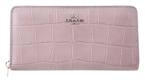 Coach * COACH Gold Accordion Zip Wallet In Croc Embossed Leather
