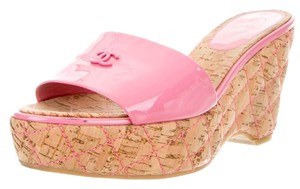 Chanel Patent Leather Quilted Interlocking Cc Logo Pink, Beige Platforms