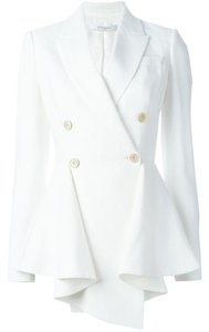 Givenchy Peplum Crepe Pleated Viscose Edgy White Blazer