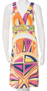 Emilio Pucci Sleeveless Silk V-neck Dress