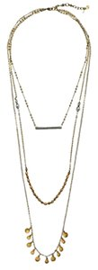 Lucky Brand BRAND NEW! Lucky Brand Two-Tone Triple Layer Hammered Disc and Bead Necklace