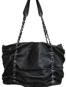 Chanel Lambskin Chain Tote Satchel Dual Strap Shoulder Bag