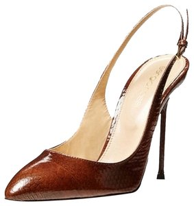 Sergio Rossi Brand New Sling-back Brown Lizzard Pumps