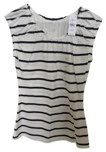 Ann Taylor LOFT Stripes Top White and navy striped