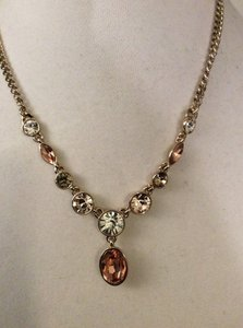 Givenchy Gold Tone Crystal Hematite-Tone Y Necklace