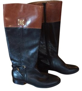 Tommy Hilfiger Black and Tan Boots