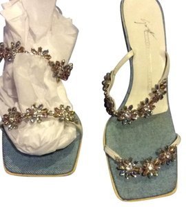 Giuseppe Zanotti White straps with jewels. Denim bottom. jewels are pastel flowers Sandals