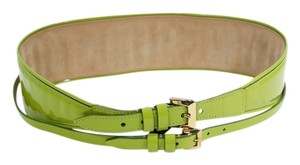Burberry Burberry Prorsum Lime Green Patent Leather Dual Buckle Corset Belt.