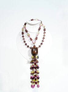 Erickson Beamon Beaded Wood Lariat Tassel Necklace
