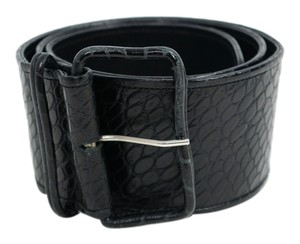 Dries van Noten Dries Van Noten Black Alligator Crocodile Embossed Leather Wide Bel