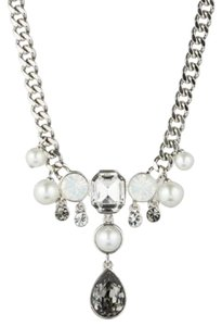 Givenchy Swarovski Silver Tone Crystal Faux Pearl Frontal Necklace