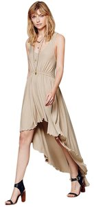 Nude Maxi Dress by Free People Gold Hi-low Flowy