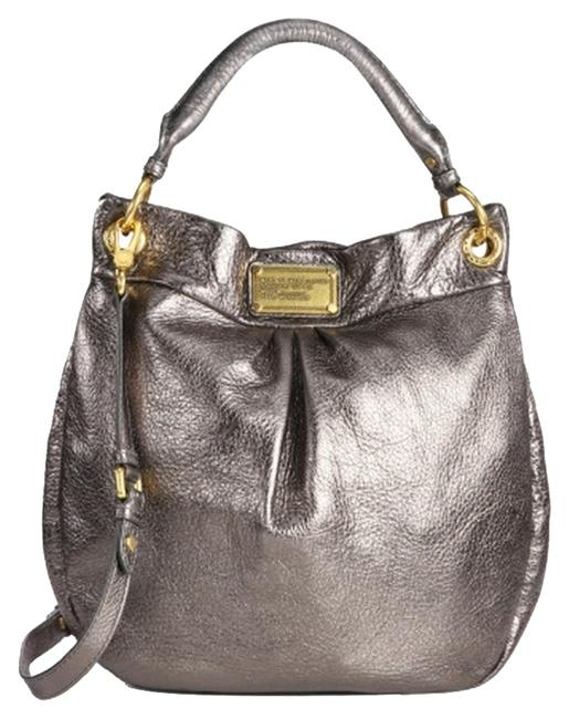 Item - Classic Q Hillier Silver Pewter Leather Hobo Bag