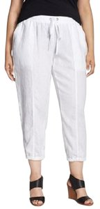 Eileen Fisher Slouchy Linen Drawstring Plus Relaxed Pants WHITE