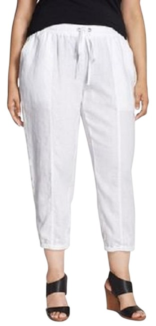 Item - White 2x Organic Linen Drawstring Ankle Crop Pants Size 22 (Plus 2x)