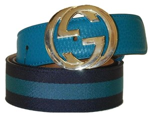 Gucci Gucci Belt Canvas and Leather Interlock G Buckle Size 90