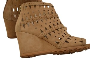 Via Spiga Cutout Suede Open Toe Wedge Camel / tan Boots