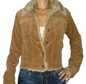 Misso Corduroy With Faux Fur Brown Womens Jean Jacket