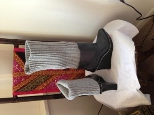 Alice + Olivia Platform Wedge Warmers gray black Boots