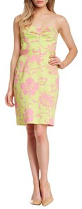 Trina Turk short dress Yellow Pink Strapless Floral on Tradesy