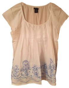 Calvin Klein Folkloric Top White with blue embroidery