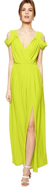 Chartreuse Maxi Dress by ASOS Grecian Off-the-shoulder V-neck Open Shoulder Off The Shoulder