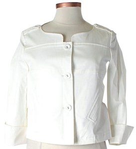 Diane von Furstenberg Pleated Cuffed Ivory Jacket
