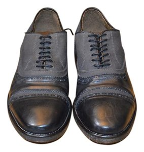 John Varvatos Black Leather/Canvas Oxfords Formal