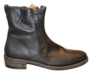 John Varvatos Black Leather Double Zipper Boots