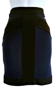 BCBGeneration Stretchy Bandage Color Block Designer Stretch Mini Skirt Blue