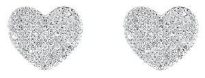 White Gold Finish Womens Ladies Pave Round Diamond Heart Studs Earrings 0.75 Ct