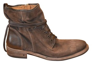 John Varvatos Brown Leather Lace Up Boots