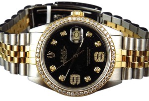 Rolex Rolex Datejust Tone 36mm 18k Stainless Steel Black Dial Diamond Watch 2.5 Ct