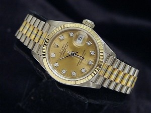 Rolex Lady Rolex 18k White Yellow Rose Gold Datejust Tridor President Diamond 69179b