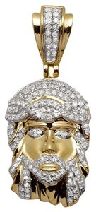 Mens Ladies Mini Jesus Face Genuine Diamond Pendant Charm 10k Yellow Gold 0.30ct