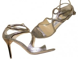 Jimmy Choo Campagne Metallic Glitter Sandals