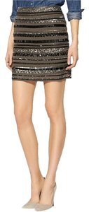 Sabine Sequin Stripe Mini Mini Skirt Gunmetal Taupe