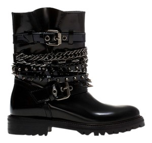 Zara Chains Spikes Black Boots