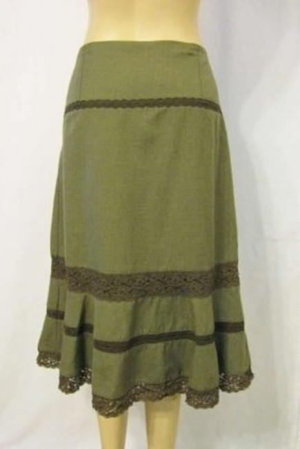 Free People Snap A-line Lace Skirt Olive Green / Brown