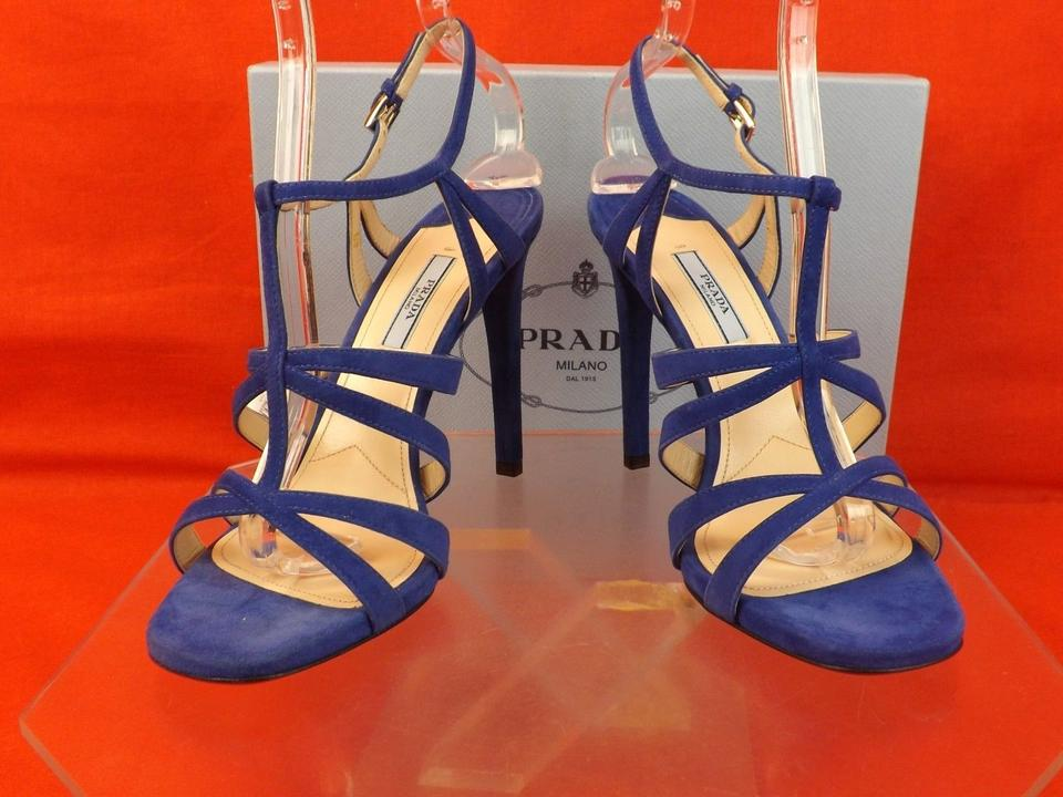 wholesale prada bag - Prada Suede Cutout Ankle Strap High Heel 40 $850 Blue Sandals on ...