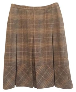 Brooks Brothers Skirt Grey plaid with blue and tan.