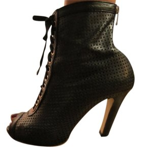 Jinny Kim Open Toe Lace Laceup Leather Black Boots